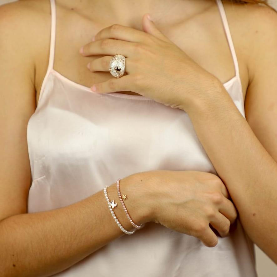 Bague et bracelets Céleste argent et or
